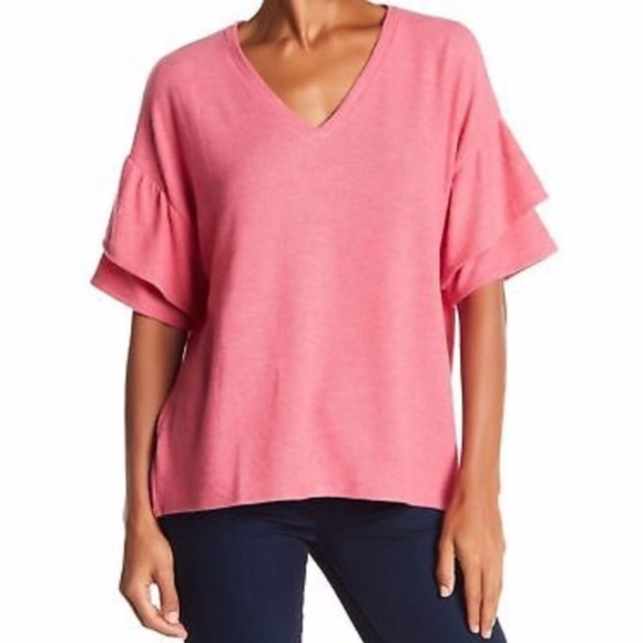 H by bordeaux Tops - H By Bordeaux Tiered Ruffle Sleeve Tee- Pink